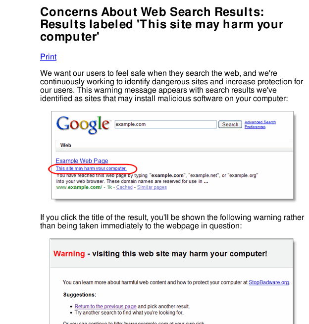Google help page about harmful search result pages