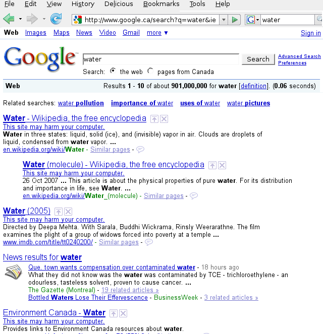 "Google search results page for ""water"""